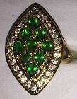 Beautiful 9kt Yellow Gold Plated Emerald Green Crystal Zirconia Cocktail Ring