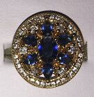 Beautiful 9kt Yellow Gold Plated Blue Round Set Crystal Zirconia Cocktail Ring