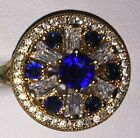 Beautiful 9kt Yellow Gold Plated Blue Round Set Crystal Tiered Cocktail Ring
