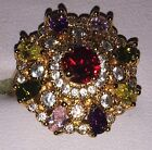 9kt Yellow Gold Plated Colourful Round Set Crystal Tiered Cocktail Ring