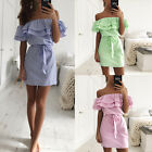Womens Summer Boho Mini Dress Ladies Strapless Casual Beach Party Shirt Dresses