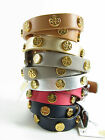 NWT Tory Burch Leather Double Wrap Logo Stud Bracelet AUTH $95