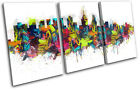 Philadelphia Colour Skyline Urban City TREBLE CANVAS WALL ART Picture Print