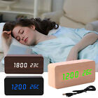 Electronic Digital Wooden LED Alarm Clock Sound Control Home Desktop Thermometer