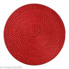 """NIB SET OF 6 COLOR SWIRL 14.5"""" ROUND CHERRY RED RATTAN PLACEMATS"""