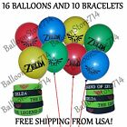 26 Piece Set - 10 Bracelets & 16 Balloons ~Legend of Zelda Birthday Party Favors