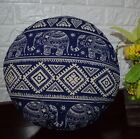 AL257n Royal Blue Beige Elephant Cotton Canvas Round Cushion Cover Custom Size