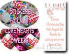 Personalised Glossy Stickers For Mini LoveHearts Christening (3 for 2) Girls