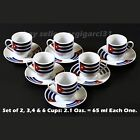 Porcelain Mini Coffee Set of Cups and Saucer with Cuban Flag 2,3,4 & 6 Cups.