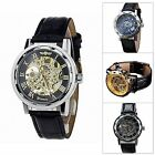 Classic Men's Leather  Strap Ban Skeleton Mechanical Sport Army Wrist Watch