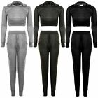 Womens Long Sleeve Hooded Crop Top Joggers Lounge Wear Set Thin Tracksuit
