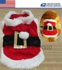 New Christmas Gift Red Clothing Dog Costumes Santa Pet Clothes US Local