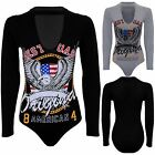 Women's West Coast Printed Cut Out V Neck Choker Long Sleeve Bodysuit Leotard