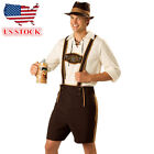 US STOCK Mens Lederhosen Oktoberfest Octoberfest Bavarian German Beer Costume