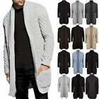 Mens Shawl Collared Open Cable Chunky Knited Sweater Placket Long Line Cardigan