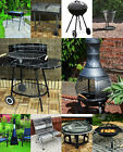 Large Charcoal Barbecue BBQ Gril Steel Trolley Garden and Chimnea Wood Burner