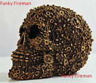Steampunk nuts bolts & cogs skull ornament ~ Cyber Gothic cool funky gift idea