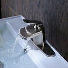 Oil Rubbed Bronze Waterfall Spout Bathroom Sink Vanity faucet Lavatory Mixer Tap