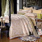 Brown with purple Queen/King Jutecell jacquard  4pc duvet cover set/bedding set
