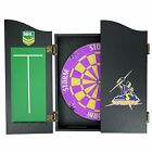 49663 MELBOURNE STORM NRL BRISTLE DARTBOARD & WOODEN CABINET + 2 SETS OF 3 DARTS