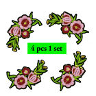 """embroidery Iron on Transfer  """" pink flower 2 & 4 pcs -1set Patch """""""