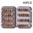 40x Fly Fishing Lure Set Artificial Insect Bait Trout Flying Hooks Tackle Box