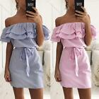 Women Summer Striped Cocktail Party Short Mini Dresses Off Shoulder Dress Pretty