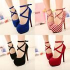 Women Ankle Strappy Buckle High Heels Shoes Fashion Wedding Platform Pumps Shoes