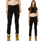 New Womens Black High Rise Stretch Combat Trousers Ripped Distressed Cargo Pants