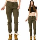 New Womens Khaki Green High Rise Stretch Cotton Slim Combat Trousers Cargo Pants