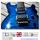 LARGE BLUE GUITAR MUSIC INSTRUMENTS MODERN - STRETCHED CANVAS WALL ART PRINTS