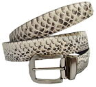 100% Genuine Python Snake Belly Skin Leather Men's Pin Belt Natural White