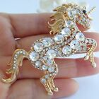 Unique Unicorn Horse Animal Brooch Pin Rhinestone Crystal Pendant Deco EE06172
