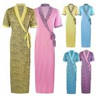 NEW LADIES WAFFLE 100% COTTON SUMMER DRESSING GOWN ROBE ANIMAL PRINT