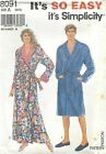 Simplicity 8091 Misses' or Men's Robe XS to XL   Sewing Pattern