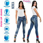 Women Levanta Cola Colombian Jeans Butt Lifter Jeggings Skinny Embroidered Pants