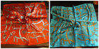 VINTAGE ORANGE/BLUE BELTS SILK SATIN FEEL LADIES SMALL SQ NECK 50cm SQUARE SCARF
