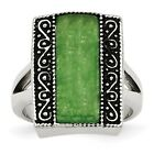 Stainless Steel Synthetic Jade Antiqued Rectangular Ring