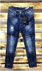 TOTAL SALE NEW Dsquared2 Slim Fit Blue Jeans Washed 2% Elastane Made in Italy