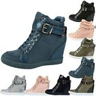 Lateefah Womens Hidden Wedge Heel Lace Up Ankle Strap Ladies Boots Trainers Size
