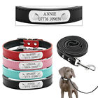 Personalized Leather Dog Collars and Leash Custom Pet Puppy Name Engraved Free
