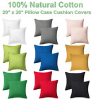"NEW 2pcs Solid Color Pillowcase Cushion Covers 20"" x 20"" with Zip - 100% Cotton image"