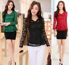 Elegance Women Sexy Lace Tops Long Sleeve  Bottoming shirt lace Pierced Blouses