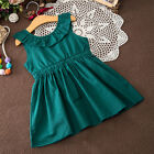 Summer Dress Girls Casual Mini Green White Dress Sleeveless Cotton Size 3T-8T