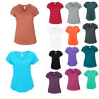 Womens Anvil Casual Tri-Blend Semi-Fitted Short Sleeved V-Neck T-Shirt Size 6-20