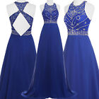Long Beading Dress Gowns Bridesmaid Evening Wedding Party Prom Cocktail Dresses