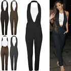 Womens Ladies Celebrity 2 In 1 Halter neck Plunge Sleeveless Playsuit Jumpsuit