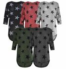New Womens Star Print Batwing Sleeve High Low  Oversized Ladies Baggy Dress Top