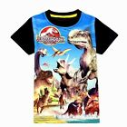 Jurassic Dinosaur Boys Shirt Cotton Blend Summer Short Sleeve Black Blue 4T-7