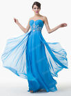 Blue Chiffon Formal Ball Gown Evening Bridemaid Prom Party Long Maxi Dress
